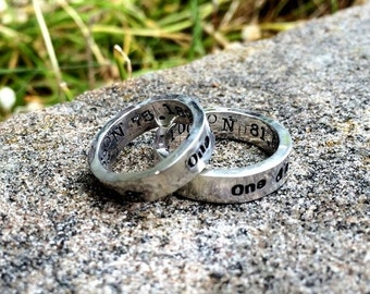 10 dollars off: RING SET - Custom Sterling Silver Thick Hand Stamped Rings - 14 FONT Choices
