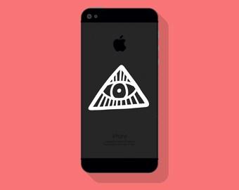 New! - ILLUMINATI VINYL DECAL, Protection Symbol Phone Decal, Evil Eye Symbol Decal, Cell Phone Decal