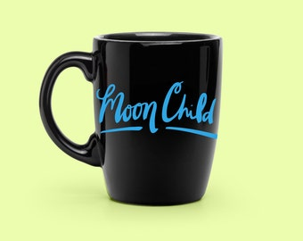 Hand Lettered Moon Child Decal - Coffee Mug Decal - Unique Space Party Decal - Statement Mug Sticker