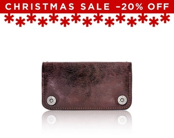 Christmas Sale -20% Off - - iPhone 6+, iPhone 7+ RETROMODERN aged leather wallet - - BURGUNDY