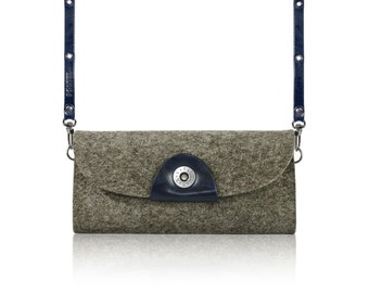 2017 SLOWDESIGN Crossbody clutch, pouch, purse, wallet for your Phone - - GRAY felt, BLACKMARINE leather