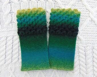 Dragon Scale Cuffs Green Ombre Wristwarmers Crocodile Stitch Crochet Wrist Warmers Wrist Cuffs Handmade in Ireland