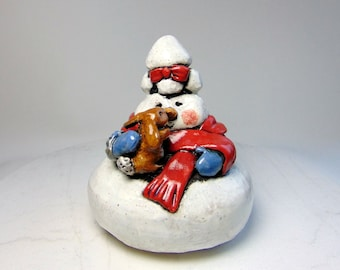 Lady Snowman with Rabbit Sculpture - Hand Built and Wheel Thrown Snowman Sculpture - Pottery Snowman - Rabbit and Snow Lady