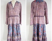 Vintage 1970s style Indian print dress