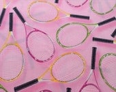 SALE Tennis Racquet, 100% cotton fabric, Multicolor, Tennis Rackets, Pink Background, By The Yard, Spring Sports Fabric