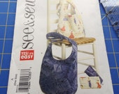 Hobo Bag Sewing Pattern, Cosmetic Pouch Pattern, Uncut, Brand New, See and Sew B6011, Sewing Instructions, Handled Fabric Bag Patterns
