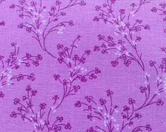 Lilac Fabric, 100% MADE IN AMERICA cotton fabric, Quilting Cotton Material, Lilac Color with Branches, Home Decor, Napkins, Placemat