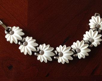 Vintage Daisy Flower Bracelet by Claudette Silver Mounted