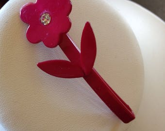 Vintage Young Girl Hair Barrette Flower with Rhinestone