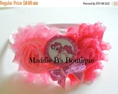 CLOSING SALE New Pony Headband-Hot Pink & Pink shabby flower-sequin bow-headband-My Little Pony-Pinkie Pie-made by Maddie Bs Boutique on Ets