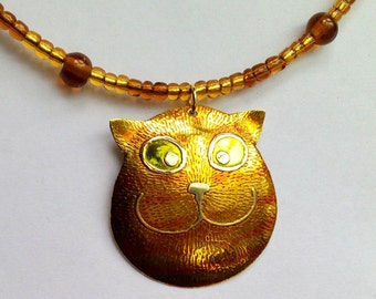 marmalade or ginger cat necklace