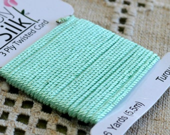Purely Silk Turquoise Green 1mm Twisted Cord Thread 3-ply 6 Yard Card