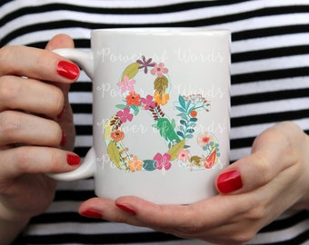 Floral Ampersand ~ Coffee or Tea Mug ~ Other Letters and Numbers Available