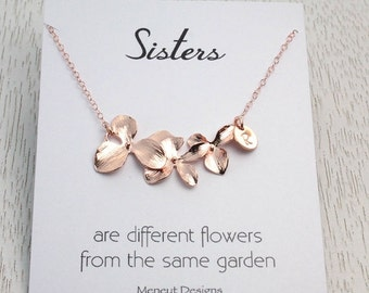 SALE Personalized Sisters Necklace Gift, Bridal Wedding Birthday Gift Idea, Rose Gold Orchid Flower Necklace, Bridesmaids Gift, Valentine...