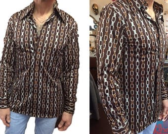 Vintage Disco Shirt for Men Form Fitting Mr. Witt Qiana Nylon Mens Button Down 70's Fashion Chain Links Brown Copper Wide Pointed Collar