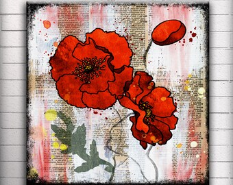 Red Poppy - One 5, 6, 7 or 8 inch Square Handmade Glass and Wood Wall Blox - Dictionary page book art - WilD WorDz - Poppy Talk 3 of 4