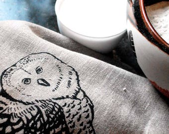 Eco-Friendly Natural Linen Tea Towel with Owl Print, Kitchen Linen