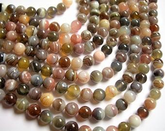 Botswana agate - 10 mm round beads -1 full strand - 39 beads - AA quality - RFG1198
