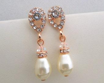 bridal earrings, pearl earrings, wedding earrings, bridal chandelier earrings, rhinestone earrings, rose gold stud earrings, pearl, DANAY