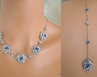 Bridal necklace backdrop Rhinestone Necklace Statement bridal Necklace Swaovski something blue crystal Necklace swarovski crystal  ROSELANI