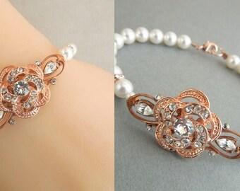 Bridal Rose Gold Bracelet, Ivory swarovski Pearl bracelet, vintage style, Pearl and Rhinestone Wedding Bracelet, Bridal Jewelry,  ROSELANI