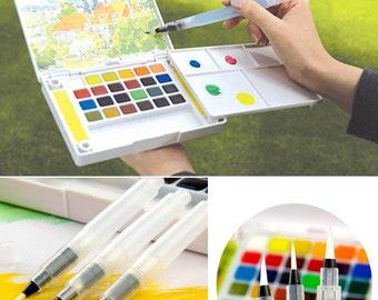 Water Brush Pen, Watercolor Brush Pens, Soft Tip watercolor Brush Pen-3 size