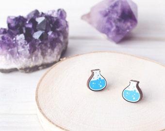SALE! Mana Potion Bottle Post Stud Earrings - Wooden, Handmade - Blue Potion - RPG, Gamer, Geek, HP, Science, Magic