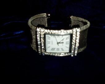 Rhinestone Silver Mesh Cuff Bracelet Watch Battery Operated Works