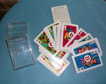 Vintage Whitman Crazy Eights Card Set Complete in original Plastic Container 45 cards