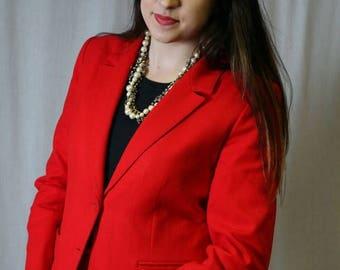 MaySale Vintage Red Wool Women's Suit by Pendleton, Medium