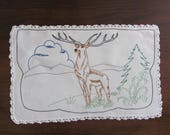 Vintage Hand Embroidered Rectangle Buck In Meadow Doily Dresser Scarf