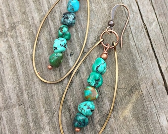 Turquoise dangle earrings, genuine turquoise jewelry, turquoise hoop earrings, southwestern jewelry