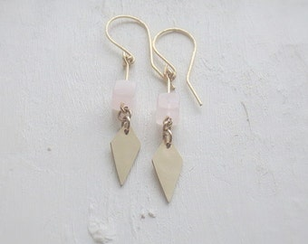 Rose Quartz Earrings. Art Deco Dangle Earrings. Blush Pink Drop Earrings. Modern Bohemian. Minimal. Wedding Jewelry - Avalon Rose