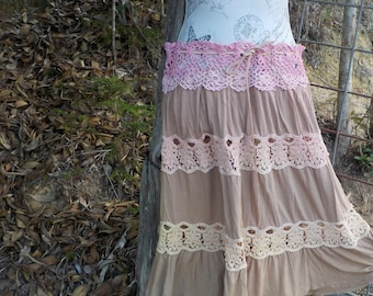 sunset skirt, upcycled crochet + lace, gypsy hippy boho alternative, adaptable size