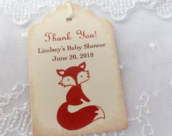 Fox Baby Shower Tags Fox Favor Tags Personalized Birthday Set of 10