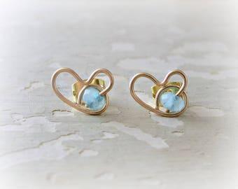 Gold Heart Earrings, Heart Stud Earrings, Aquamarine Studs, Love Earrings, Gold Heart Studs, Valentines Day, Gold Studs, Aquamarine Earrings