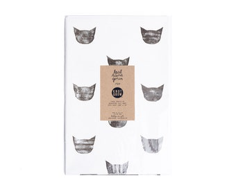 Black and White Cats Newsprint Gift Wrap / Knot & Bow x Leah Goren / 3 Sheets