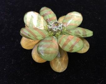 Floral Handmade Green Golden Plastic Flower Rhinestones Craft DIY Pin Vintage Jewelry