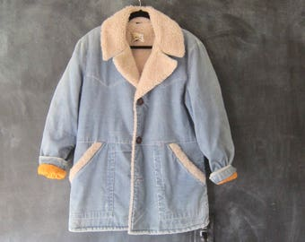 70s Baby Blue Corduroy Faux Shearling Jacket Western Wear Hippie Boho Faux Fur Bohemian Mens Size M, Ladies L