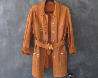 60s Deerskin Trench Coat Reversible Boho Hippie Leather Buttery Soft Jacket Mens Size S/M, Ladies M/L