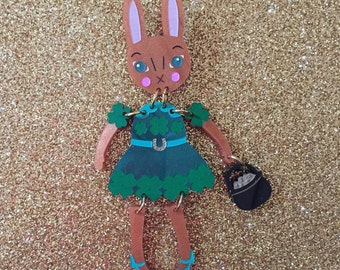 Lucky Clover St Patricks Day Buddy Bunny Brooch
