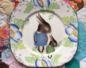 Blue Shy Bunny Mum and Baby Vintage Illustrated Plate