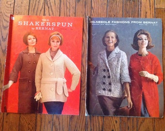 Vintage 1960's Bernat Handicrafter Knitting Magazine Lot Instructions Patterns