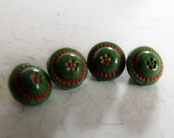 Pea Green Glass Buttons Small