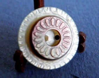 Incised  Two Color Shell Button Small
