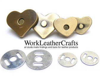 10 sets 20x18mm Brass BRUSH HEART Magnetic Snap Closure / thin / high qaulity