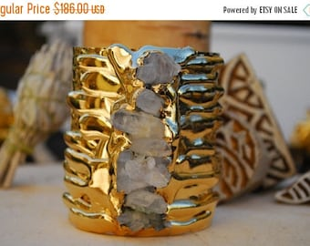 20% OFF GOLD MELT Cuff  /// Crystal Gemstone Cuff /// 24kt Gold Electroformed