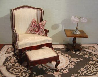 Dollhouse Reupholstered Miniature Wing Chair and Matching Ottoman 1:12 scale