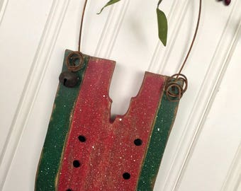 Summer Watermelon Slice Wood Hanging Decor | Greeter | Woodcraft | Distressed | Americana Seasonal | Country Farmhouse | Rustic | Red Green