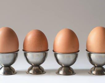 Vintage Stainless Steel Egg Cup Set Danish Modern